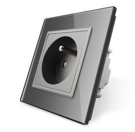 Gniazdo FR w ramce szklanej zestaw kolor szary WELAIK