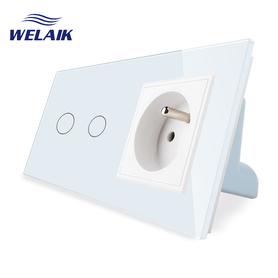 Wyłącznik dotykowy 2+G zestaw biały WELAIK