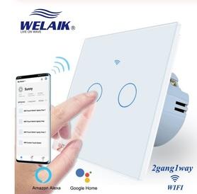 Wyłącznik dotykowy WIFI podwójny biały zestaw WELAIK ®