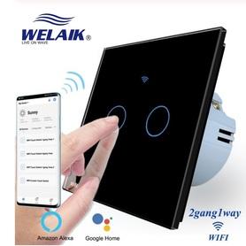 Wyłącznik dotykowy WIFI podwójny czarny zestaw WELAIK ®