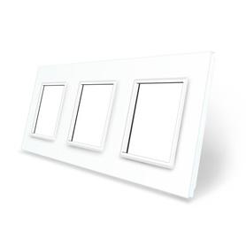 Ramka szklana 3 do gniazdek-modułów biała