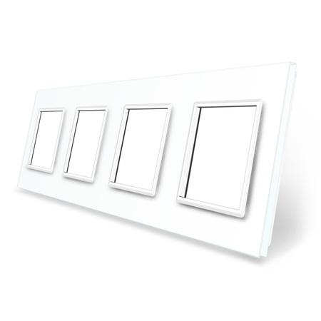Ramka szklana 4 biała do gniazdek-modułów WELAIK (1)