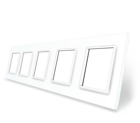 Ramka szklana 5 biała do gniazdek-modułów WELAIK (1)