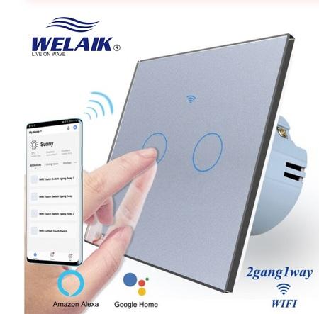 Wyłącznik dotykowy WIFI podwójny szary zestaw WELAIK ® (1)